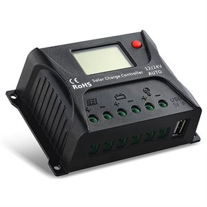 REGULATEUR PWM 12 / 24V 10A AUTO AVEC CADRAN DIGITAL